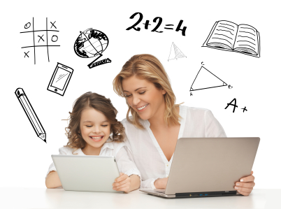 girl and mother with tablet plus laptop